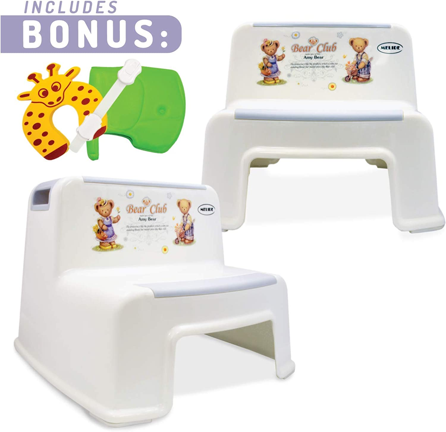 2 Step Stool For Kids (2 Pack)  Toddler Stool For Toilet and Potty Training with Slip Resistant and Soft Grip For Comfort   Dual Height and Wide Steps For Use in the Bathroom and Kitchen By MeliDe