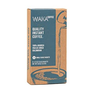 Waka Quality Instant Coffee — Medium Roast — 100% Arabica & Freeze Dried — 8 Packets for Hot or Iced Coffee