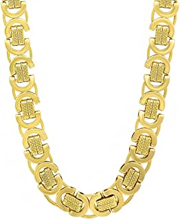 The Bling Factory 9mm 14k Gold Plated Byzantine Chain Necklace + Microfiber Jewelry Polishing Cloth