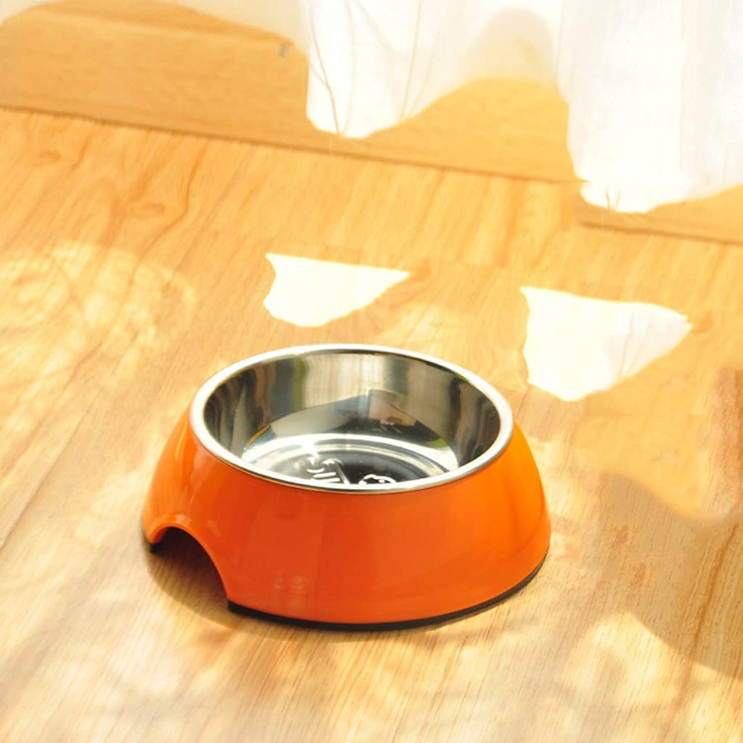 CXQ Dog Bowl Pet Bowl Dog Food Bowl Small Medium and Large Dog Stainless Steel AntiSkid Cat Bowl orange Pet Supplies (Size   S)