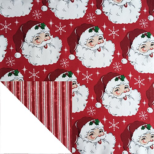 Kiddokins Cotton Cloth Napkin for Kids Lunchbox: Christmas Santa Claus with Stripes Double Sided Napkin