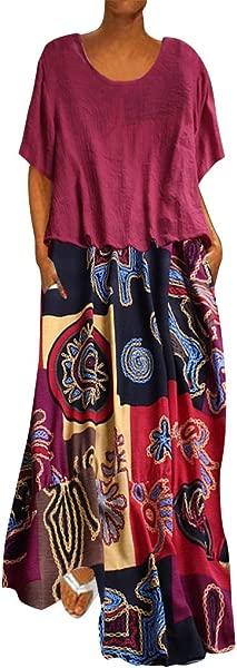 TOTOD Maxi Dress For Women Plus Size Patchwork Two Piece O Neck Short Sleeve Vintage Print Leisure Dresses