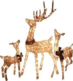Top Treasures Christmas Reindeer Family 3 Piece Set | Pre-lit Rattan Holiday Deer Includes 52