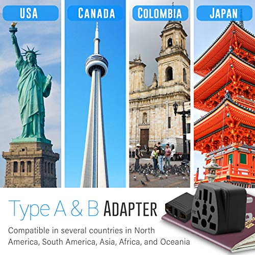 US Plug Adapter Unidapt European to USA Plug Adapter 2-Pack Europe to American Outlet Plug Adapter, EU to US Adapters, EU/UK/AU/IN/CN/JP/Asia/Italy to USA/Canada Travel Power Plug Adapter (Type A & B)