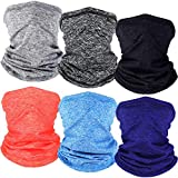 6 Pieces Winter Neck Warmer Gaiter Fleece Unisex Face Covering Lined Warm Cold Weather Scarf Wrap for Men Women (Chic Colors)