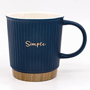 Ceramic Coffee Mug Simple Mugs with Handles for Men Women Large Tea Cup in Office and Home Dishwasher and Microwave Safe 1 PACK (Blue)
