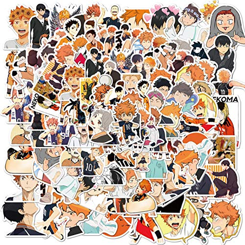 WANGPENG Dibujos Animados Anime Pegatina Maleta portátil Maleta Doodle patineta móvil Pegatina de Dibujos Animados 50 Piezas