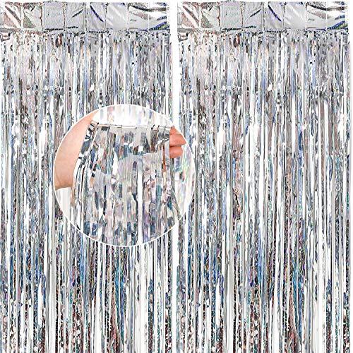 PartyWoo Foil Curtain, 8.2 feet Tinsel Curtains, 2 pcs Backdrop Curtain, Foil Fringe Curtains, String Curtain, Party Backdrop, Wedding Backdrop for Birthday Party Decorations (Silver, 3.3x8.2 ft)