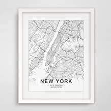 New York City Downtown Map Wall Art New York Street Map Print New York Map Decor City Road Art Black and White City Map Office Wall Hanging 8x10 inch No Frame