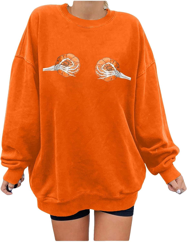 2021 Halloween Sweatshirts for Women's Fashion Casual Long Sleeve Pumpkin Skeleton Print Shirts Ladies Pullover Tops