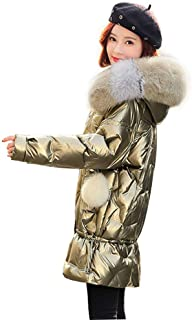 Womens Lightweight Outwear Coats Lightweight Water-Resistant Hooded Down Fur Collar Hooded Long Ladies Womens Jacket, Metallic Luster,Gold,L