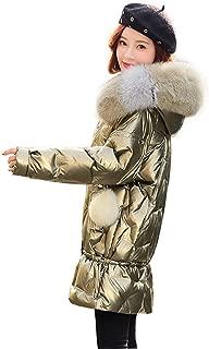 Womens Lightweight Outwear Coats Lightweight Water-Resistant Hooded Down Fur Collar Hooded Long Ladies Womens Jacket, Metallic Luster,Gold,L
