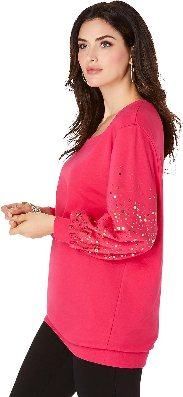 Roaman's Women's Plus Size Embellished Sweatshirt Tunic