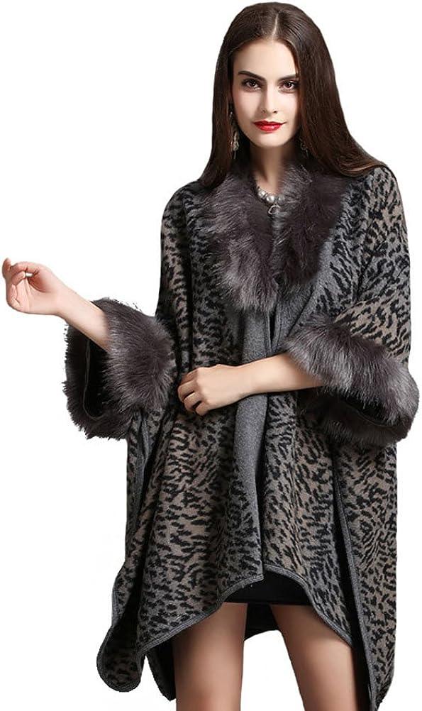 Women Bridal Faux Fur Shawl Wraps Cloak Coat Sweater Cape Poncho