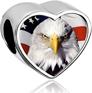 DemiJewelry American Flag Bead Heart Photo Charms fit Charm Bracelet
