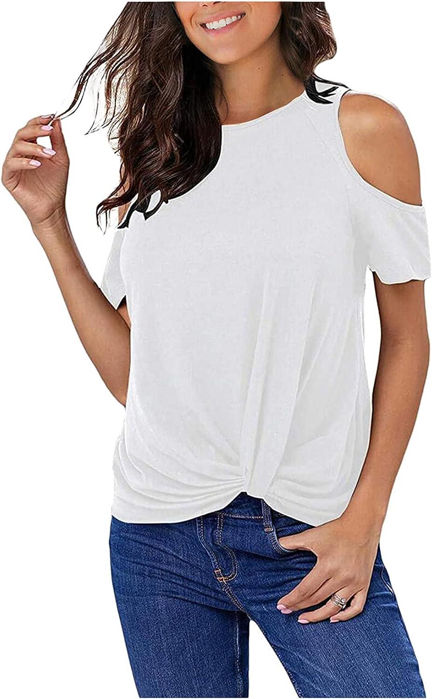 VEMOW Camiseta Largo Camisas Blusas Tops Informal Camisetas Manga Corta con Hombros Descubiertos Cuello Redondo para Mujer, Última Moda Verano Suelto Color Estampado Tshirt Tallas Grandes
