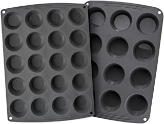 Webake Silicone Cake Mold Set of 2 For Mini Muffin Standard Size Muffin for Peanut Butter Fat Bomb Egg Bites Cupcake Pan