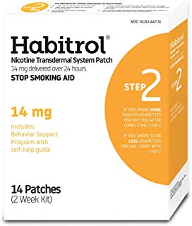 Habitrol Nicotine Transdermal System Patch | Stop Smoking Aid | Step 2 (14 mg) | 14 Patches (2 Week Kit) | Packaging May Vary