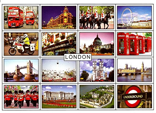 London View Postcards - A Selection Pack of Approximately 20 London Postcards with one of H M Queen Elizabeth II by Postcards