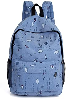 ACSH Casual Style Lightweight Canvas Backpack School Bag Travel Daypack,Fashion Small Fresh Middle School Bag (Color : Light Blue)