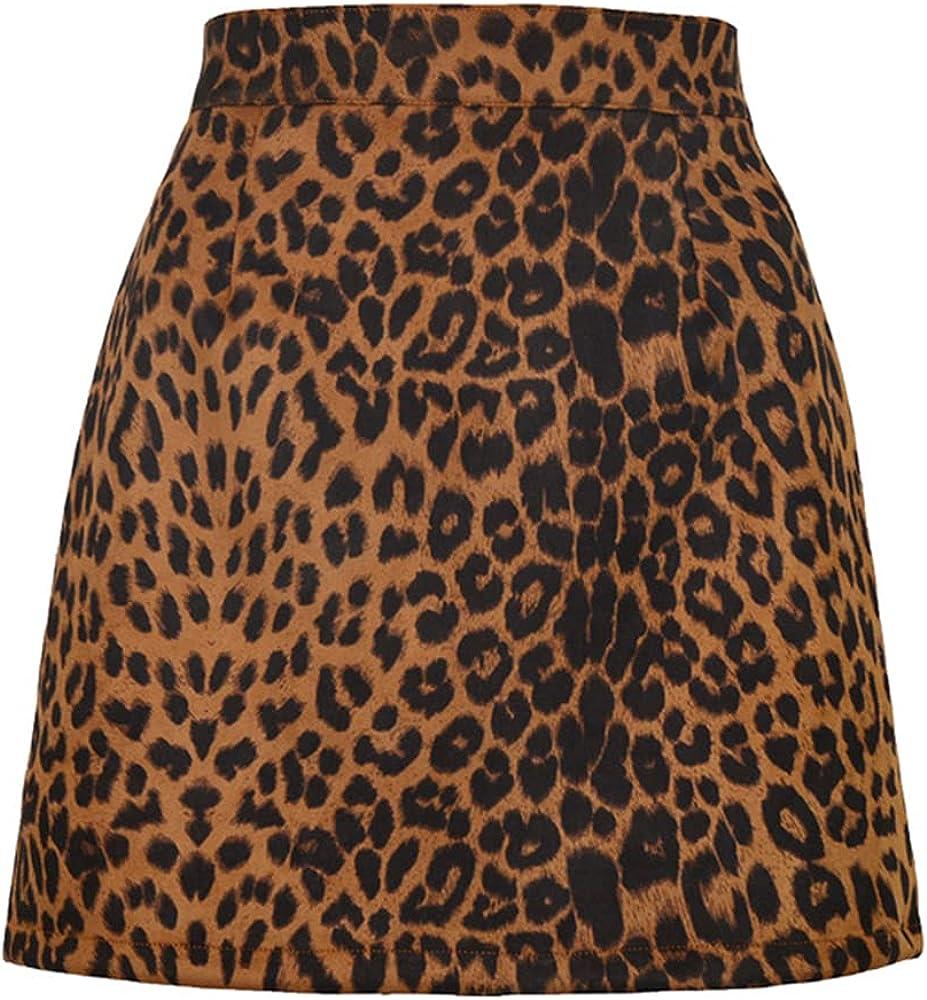 NP Autumn Winter Print Mini Skirts Sued Thick Waist Zipper A-Line Skirt Women