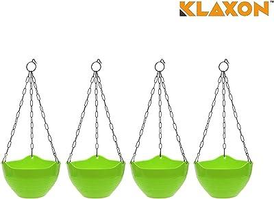 Klaxon Plastic Hanging Pot with Chain -Hanging Planters -Green 4PCs