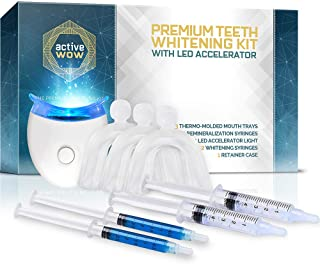 ActiveWow Teeth Whitening Kit - LED Light, 36% Carbamide Peroxide, (2) 5ml Gel Syringes, (2) Reminerilization Gel, Tray and Case (Premium Kit)