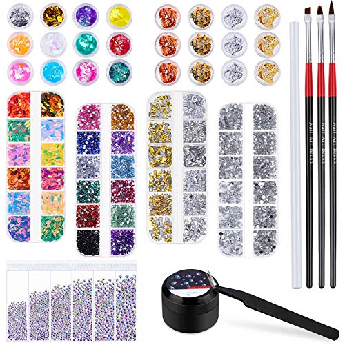 crystal rhinestone for nails Cridoz 8420 Pcs Rhinestones for Nails, Nail Rhinestones Crystals Nail Gems Jewels Diamond with Nail Gel Glue for Nails Art Supplies Decoration Clothes Shoes