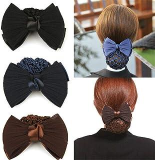 TXIN Set of 3 Bow Snood Bun Covers Crochet Net Hair Snoods for Women Girls