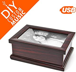 4X6 Photo Frame with Music Box, Custom USB Music Box to Upload Your Own Songs Selection - Rechargeable Solid Wood Picture Frame with Compartment, 15 MP3 Songs USB Sound Module with 95 MB Space
