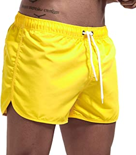 haoricu Men's Beach Shorts Quick Dry Surfing Swim Trunks Elastic Drawstring Shorts Multi-color Optional