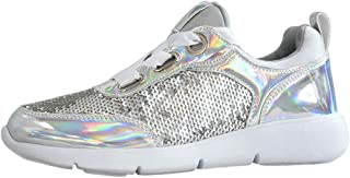 LUCKY STEP Sequin Shoes for Walking Womens Sneakers with Metallic Lace up Shoes - Shiny and Comfortable
