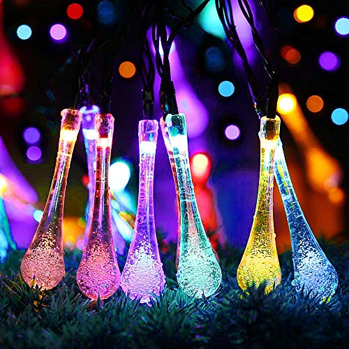 30 LED Solar String Lights, 6.5M/21.3FT Outdoor Garden LED Fairy Lights 8 Modes, Waterproof Crystal Raindrop Decorative Light for Festival Celebrate Garden Patio Yard Tree Wedding Birthday(Multicolor)