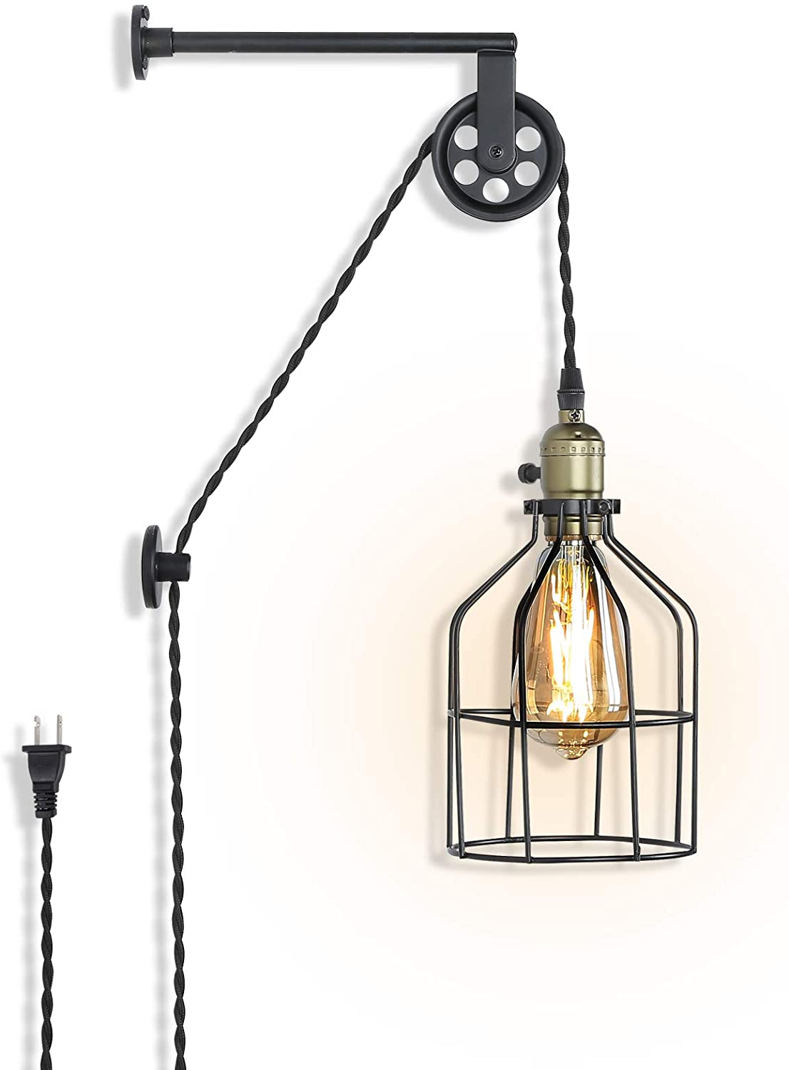 Industrial Wall Sconce Lights Lift Pulley Design Vintage Farmhouse Wall Lamps for Living Room Decor, Retro Mounted Fixture with Wheel Pendant Lamp for Bedroom(No Bulb)