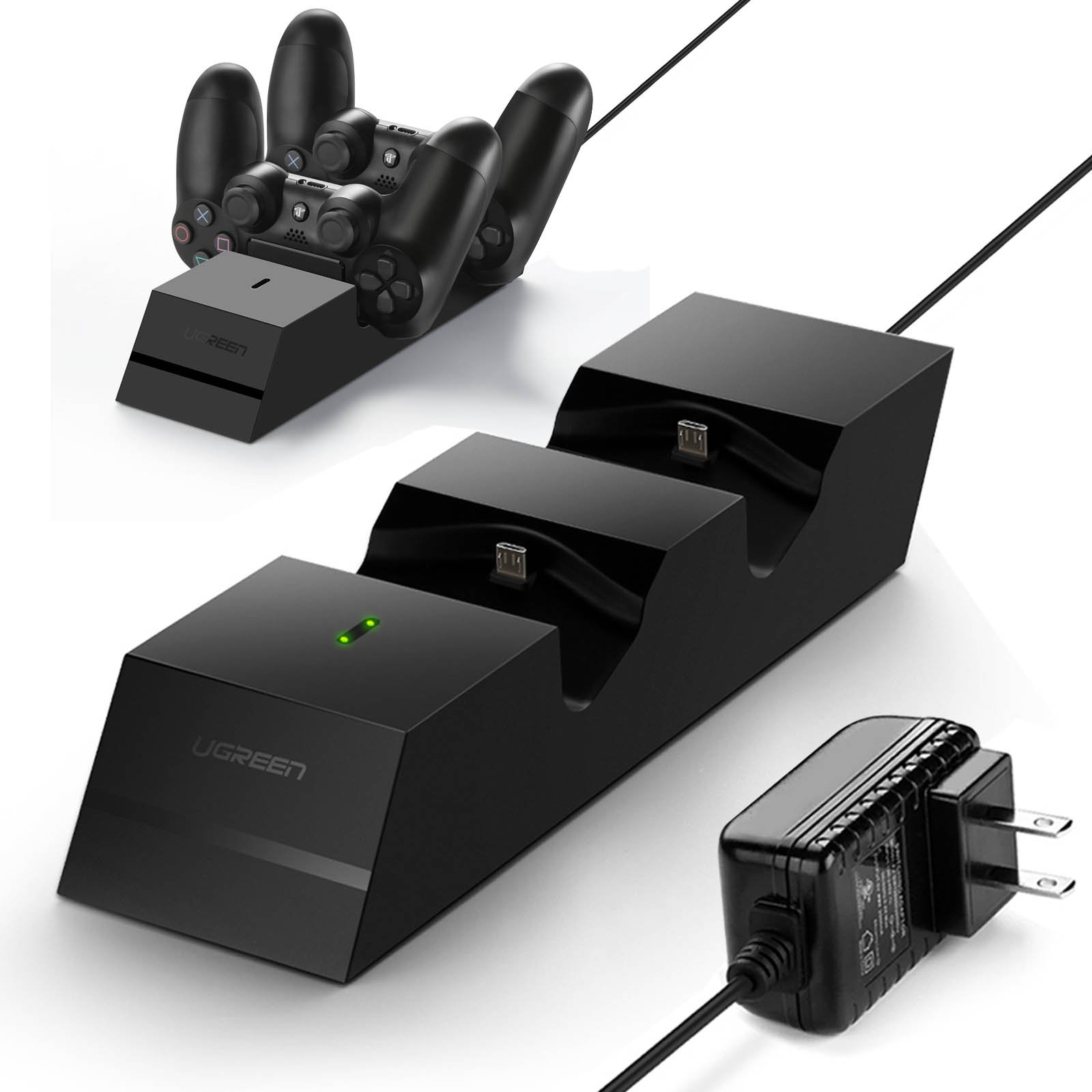 UGREEN Controller Charger PS4 Charging Station, 2.5 Hours Full Charge for 2 Controllers, DualShock 4 Charger Dock for Playstation Slim, PS4 Pro Controller with AC Adapter - US plug