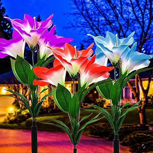 Luces solares para jardín al aire libre, paquete de 3 luces solares para jardín con 9 flores Clivia, luces de hadas impermeables con energía solar para exteriores, jardín, patio, patio trasero