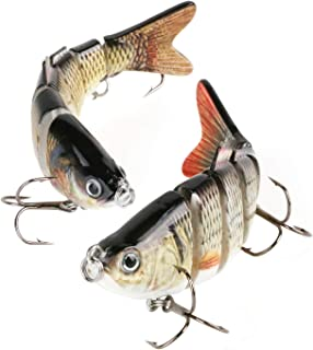 Scotamalone Fishing Lures Bass Trout Lures, 6 Segment, Tackle 6# High Carbon Steel Anchor Hook, Lifelike Multi Jointed Art...