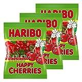 HARIBO Happy Cherries, Lot de 3, Caoutchouc-Babyours-Vin en Caoutchouc, Fruit Caoutchouc en Sachet, Pochette