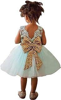 6b7138feb6ad8 Sawanica Bébé Fille Robe de Baptême Robe Demoiselle Enfant Jupe Noeud  Papillon au Dos Robe Cérémonie