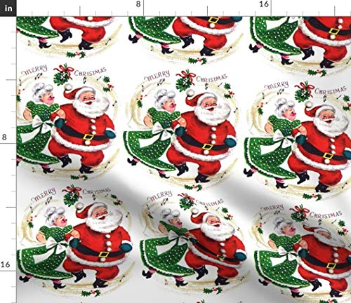 Spoonflower Fabric - Christmas Xmas Santa Claus Musical Notes Music Dancing Dance Vintage Printed on Petal Signature Cotton Fabric by The Yard - Sewing Quilting Apparel Crafts Decor