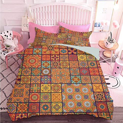 Hiiiman Colección de ropa de cama de alta calidad de estilo marroquí con estampado floral ornamental de patchwork (3 piezas, California King Size) juego de funda de edredón de 3 piezas