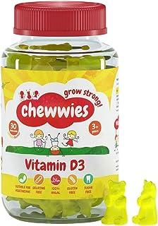 Chewwies Vitamin D - Chewable D3 Vegan Gummies- Gelatin Free, Sugar Free, Halal & Gluten Free, Non-GMO - for Adults and Ch...