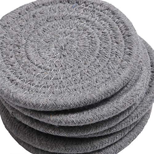 HomeSwag - Posavasos trenzados de algodón para bebidas, absorbentes resistentes al calor, color gris claro de 4,3 pulgadas