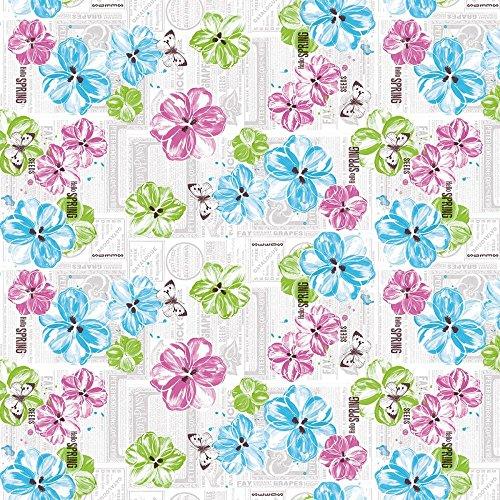 Sovie Home Linclass® Airlaid Tischdecke Hello Spring | Pink Türkis | Ideal für Ihren Frühlings Tisch | 80x80cm | 1 Stück