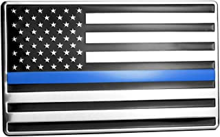 USA American Embossed Stainless Steel Metal Flag for Cars, Trucks Show Support of Police and Law Enforcement Officers 5