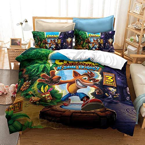 Enhome Duvet Cover Bedding Set for Single Double King Size Bed, 3D Cartoon wolf Print Microfiber Duvet Set Quilt Case with Pillowcases (Crash Bandicoot1,135x200cm(2pc))