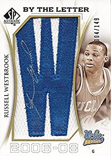 AUTOGRAPHED Russell Westbrook 2009-10 Upper Deck SP Authentic Basketball BY THE LETTER JERSEY PATCH (Letter W) UCLA Bruins Rare Insert NBA Collectible Trading Card #004/149