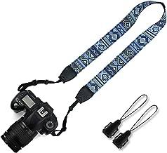 Elvam Universal Men and Women Camera Strap Belt Compatible for All DSLR Camera, SLR Camera, Instant Camera and Digital Camera - Blue Pattern Stripe