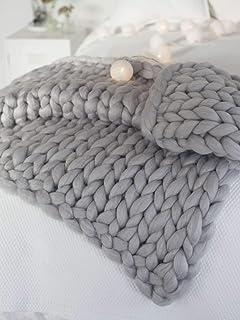 clootess Chunky Knit Blanket Merino Wool Hand Made Throw Boho Bedroom Home Decor Giant..