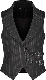 Punk Rave Mens Steampunk Waistcoat Vest Black Brown Stripe Gothic Vintage Victorian